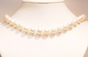 Classic sterling (925) silver natural freshwater pearl necklace