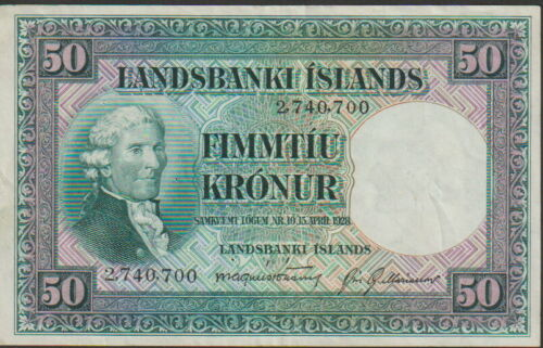 Iceland,50 Kronur Banknote,15.4.1928,Extra Fine/Choice Very Fine Condit,Cat#34-A