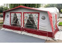 Isabella full awning maroon and grey will fit 900 to 975 size or Bailey Pagent size van