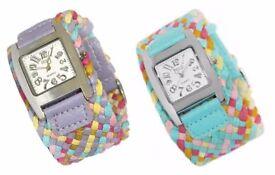 New Women Lady Quartz Bracelet Style Knit Band Wrist Watch Fashion Designer UK