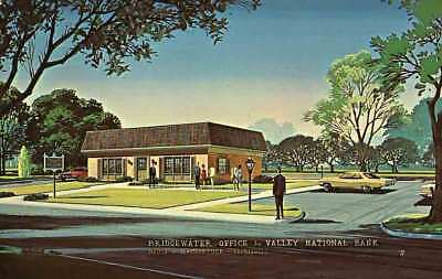 Bridgewater Va Valley National Bank Artist Rendering Nr Harrisonburg Postcard