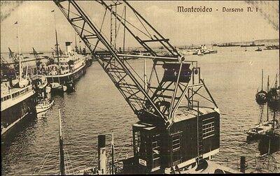Montevideo Harbor & Crane c1910 - Harbor Crane