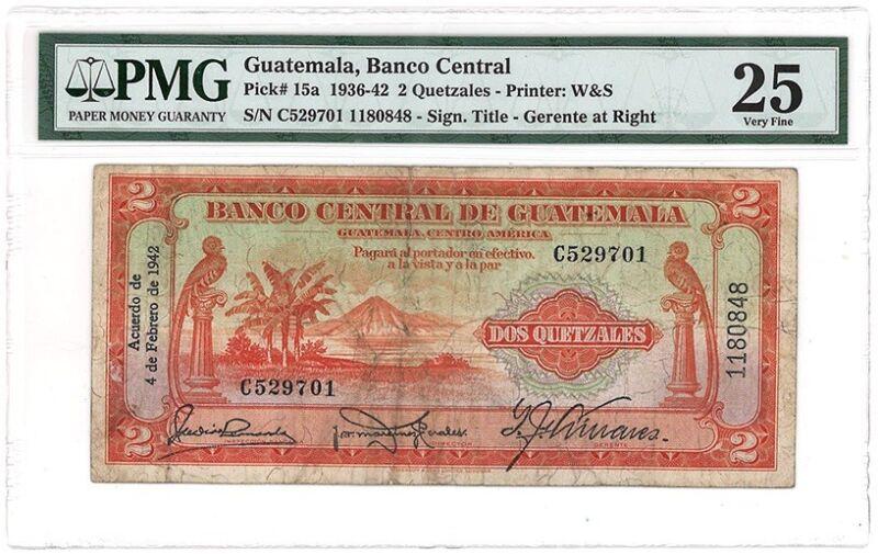 guatemala 2 Quetzal 1942 Pick 15a PMG 25