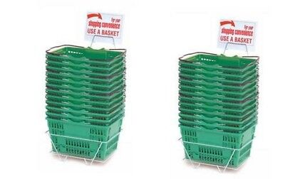 New 24 Standard Shopping Baskets - Chrome Handles - Metal Stand And Sign - Green