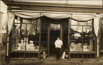 205 Newbury St. Store Shop Keeper c1910 Real Photo Postcard BOSTON on (Newbury Boston Stores)
