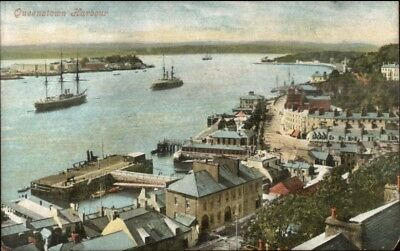 Queenstown Ireland Harbour Ships Bldgs c1910 Postcard, used for sale  Shipping to Canada