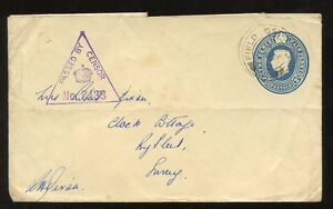 GB-KG6-STATIONERY-ENV-WW2-USED-FPO-CENSOR-to-SURREY