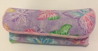 (Purple Glitter Butterfly Semi Hard Eyeglass Case With Flip Over Flap Closure)