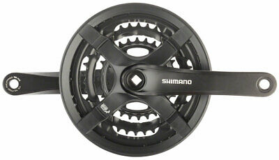 Shimano Altus FC M311 6//7//8 Speed Bike Crankset Blk 175mm 48//38//28T w//ChainGuard