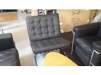 Barcelona Chair Arm Chair, Retro, Vintage Style sofa Mid century. Black leather