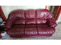 Leathet Sofa and 2 chairs