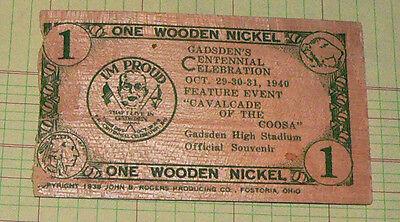 1940 Wooden Nickel  Gadsden Centennial Celebration Alabama