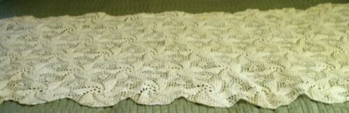 "Antique Ivory Hand Crochet Table Runner Popcorn Stitch 88"" by 56"" Gorgeous"