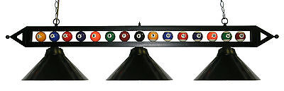 "59"" Black Metal Ball Design Pool Table Light Billiard lamp W Black Metal Shades"