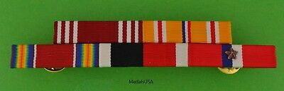 WWII Army Philippine Asia Pacific Service Mounted 5 Ribbon Bar - WW2