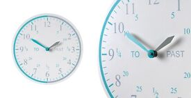 Tell the time wall clock from the great little trading company (grey&turquoise)