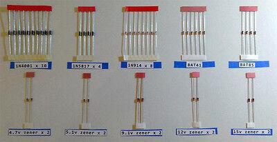 Diode Pack- 42 Total Diy Stompbox Clipping Zener 1n4001 1n5817 Bat41 Etc Look