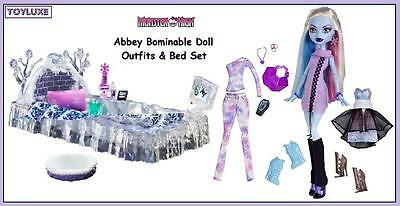 Monster High Abbey Bominable ICE BED + Doll & 3 Fashion Design Outfits Play Set