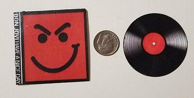 "Dollhouse Miniature Record Album 1/"" 1//12 scale Barbie Bon Jovi what do you got?"
