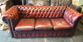 Stunning Chesterfield sofa, bucket chair and Queen Anne wingback. Oxblood.