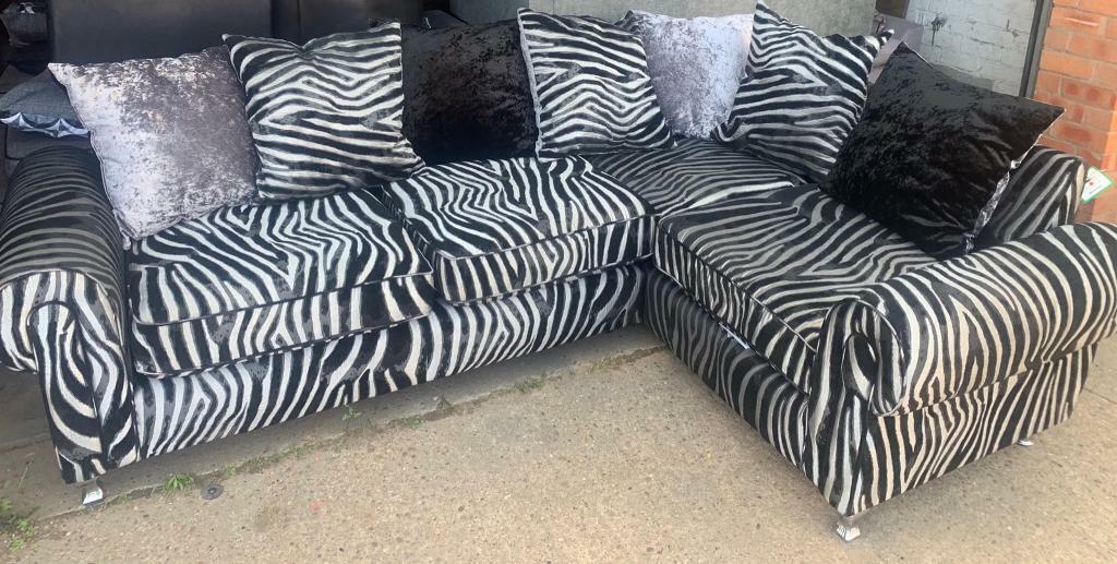 Zebra Print Corner Sofa New In