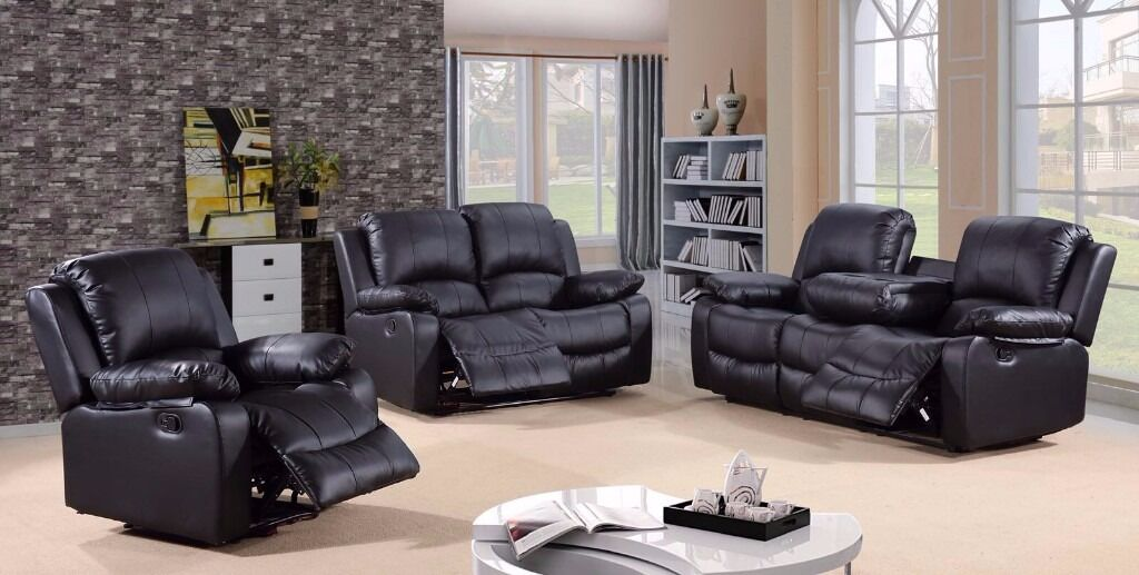Teron 32 Black Bonded Leather Luxury Recliner Sofa Set With Pull Down Drink Holder. UK Deliveryin Timsbury, SomersetGumtree - This beautiful bonded leather sofa suite would make a stylish addition to any living room or lounge! Available in a classic brown or bold black, this sofa set is the perfect way to relax after a long day and with room to seat five people it's...