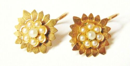 ANTIQUE VICTORIAN FRENCH 18K GOLD & SEED PEARL FLOWER FINE EARRINGS