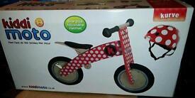 £45 As new, with box - dotty Kiddimoto balance bike and helmet