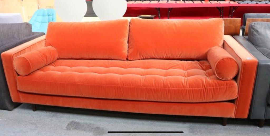 Made Scott 3 Seater Burnt Orange Sofa