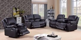 Valarie 3 & 2 Black Bonded Leather Luxury Recliner Sofa Set With Pull Down Drink Holder. UK Delivery