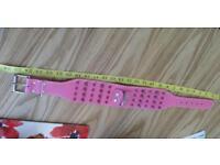 Pink studded dog collar