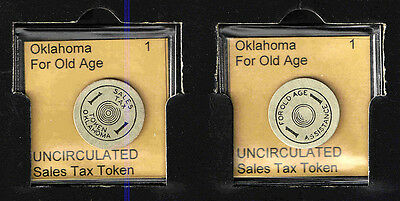 OKLAHOMA 1 Pressboard OLD AGE TAX TOKEN RECEIPT    UNCIRCULATED