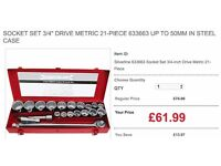 "Socket Set 3/4"" Drive Metric 21-Piece 633663 up to 50mm in Steel Case"