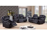 Tesla 3 & 2 Black Bonded Leather Luxury Recliner Sofa Set With Pull Down Drink Holder. UK Delivery