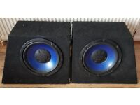 CAR DOUBLE SUBWOOFER FUSION ENCOUNTER 2 X 12 INCH IN TWO SEPARETE BOXES TWIN BASS BOX