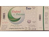 Ticket of good pitch view; England vs Pakistan 2nd ODI Cricket Match at Lords on 27th August 2016