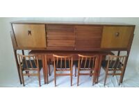 Vintage Mid Century Set of Sideboard, Table and Chairs in Danish Style by Elliotts Of Newbury EON