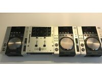 3 x Pioneer CDJ 200 DJ Decks with Numark M101 mixer