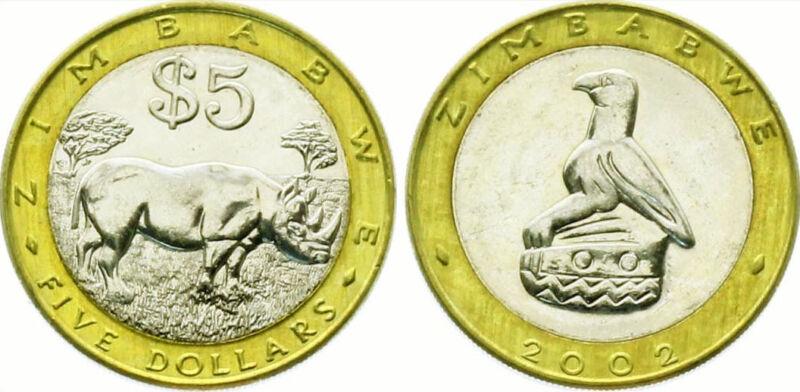 Zimbabwe 2002 5 Dollar Uncirculated (KM13)