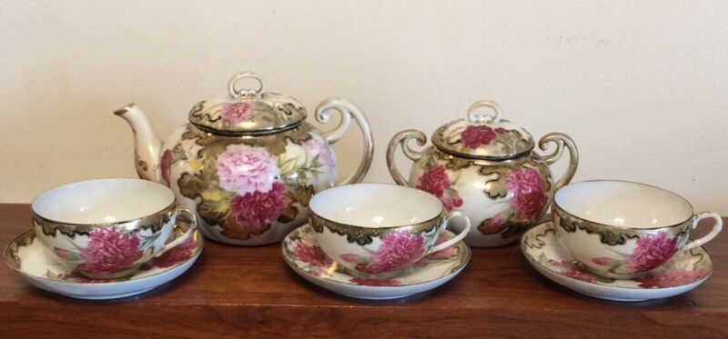 The Yamato Nippon Tea Set, Pot, Sugar Bowls 3 Cup & Saucer Sets Gilt Pink NICE