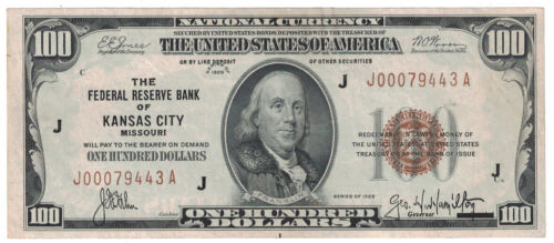 U.S. (Kansas City, MO) - Series of 1929 $100.00 National Currency Banknote