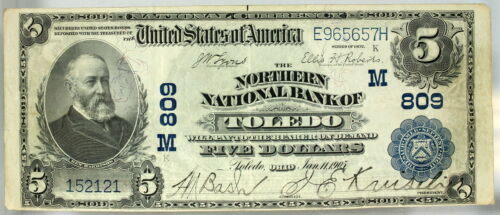 VF 1902 $5 NORTHERN NATIONAL BANK OF TOLEDO OHIO CH# 809 NATIONAL CURRENCY (21)