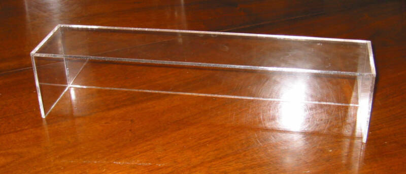 """PLEXIGLASS BOX RISER, WITH BACK.   FOR OVER 12"""" WIDE.   STANDARD SIZE"""