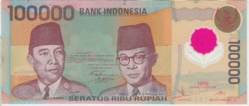 Indonesia Banknote P140 100,000 100.000 100000 Rupiah 1999 Polymer, UNC