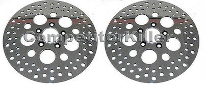 "11.5"" Harley Brake Rotors Two Front Polished Finish Stainless Steel Drilled"
