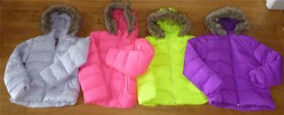 (Girls ARIZONA Hooded Puffer Jacket Winter COAT size 14 NWT *Fits SLIM* Neon Pink)