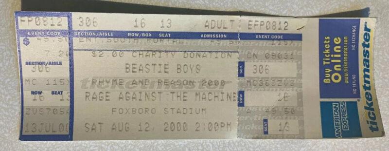 Beastie Boys Rage & Against Machine Foxboro Stadium MA 8/12/2000 Concert Ticket