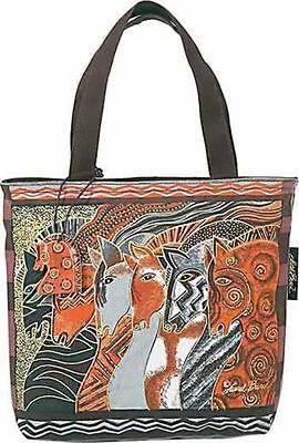 Moroccan Mares Laurel Burch Small Horse Canvas Purse Tote Handbag Black ()