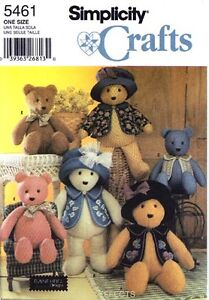 Simplicity Pattern 5461 TEDDY BEARS and CLOTHES stuffed animals toy vest hat
