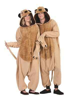 MICAH MEERKAT ADULT COSTUME ANIMAL PAJAMAS JUMPSUIT TAN BROWN MENS TAIL EARS
